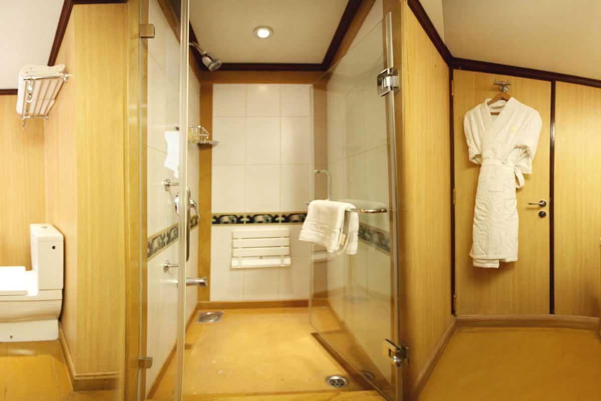 Cabine de douche spacieuse du Maharajas' Express